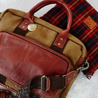 Free People Lewis Leather x Canvas Briefcase