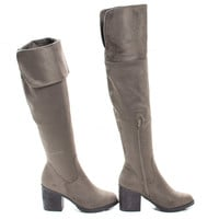 Victoria01 By Bamboo, Western Cowgirl Stack Heel Foldable Knee High Boots w Faux Fur Lining