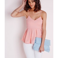 Missguided - Box Pleat Peplum Top Pink