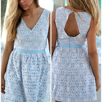 Sugar And Spice Baby Blue A-Line Lace Party Dress