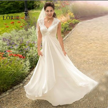 LORIE Wedding Dress for Pregnant woman V Neck Beach Wedding Gown Cheap Backless Lace Custom Made Free Shipping Bride Dress 2019