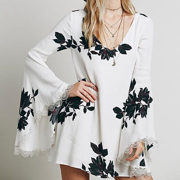White Floral Print Cut Out Back Trumpet-Sleeve Dress