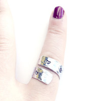 Silver Wrap Ring - Handstamped - Heart Ring
