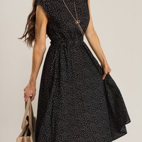 Elina Black Polka Dot Midi Dress