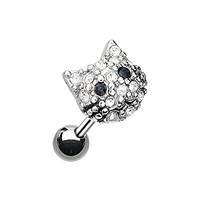 Sparkle Kitty Cat Stainless Steel Cartilage Tragus Earring