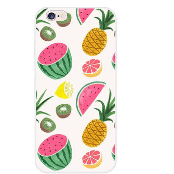 Luxury Transparent Kiwi Fruit Watermelon Pineapples Collage Painting Elaborate Silicon Phone Case Cover Shell For Apple iPhone 5 5S SE