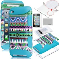 ULAK 3-Piece Hybrid High Impact Case Tribal Pattern with Inner Silicone Soft Shell for iPod Touch Generation 4 with Screen Protector (Cleaning Cloth with ULAK Logo) (Blue--Green Tribal)