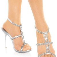 Frederick's of Hollywood Rhinestone T-Strap Sandal Womens