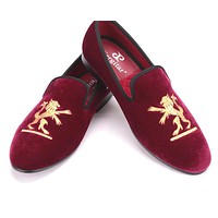 Lion embroidery Velvet shoes