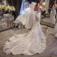 Vestido De Noiva Vintage Lace Mermaid Wedding Dresses Sexy Backless Cap Sleeve