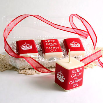 Keep Calm and Carry On Candle Set 3 Soy Candles Vanilla Fragrance Red and White English England UK British Britain Candle Gift Set Classic