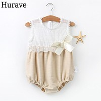 Baby Rompers summer children with piecemeal clothes female baby triangle jeans