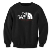 THE NORTH WALL - funny hip retro cool tv show winter is coming swag party game of thrones new tee shirt - Mens Black Crewneck Sweatshirt 899