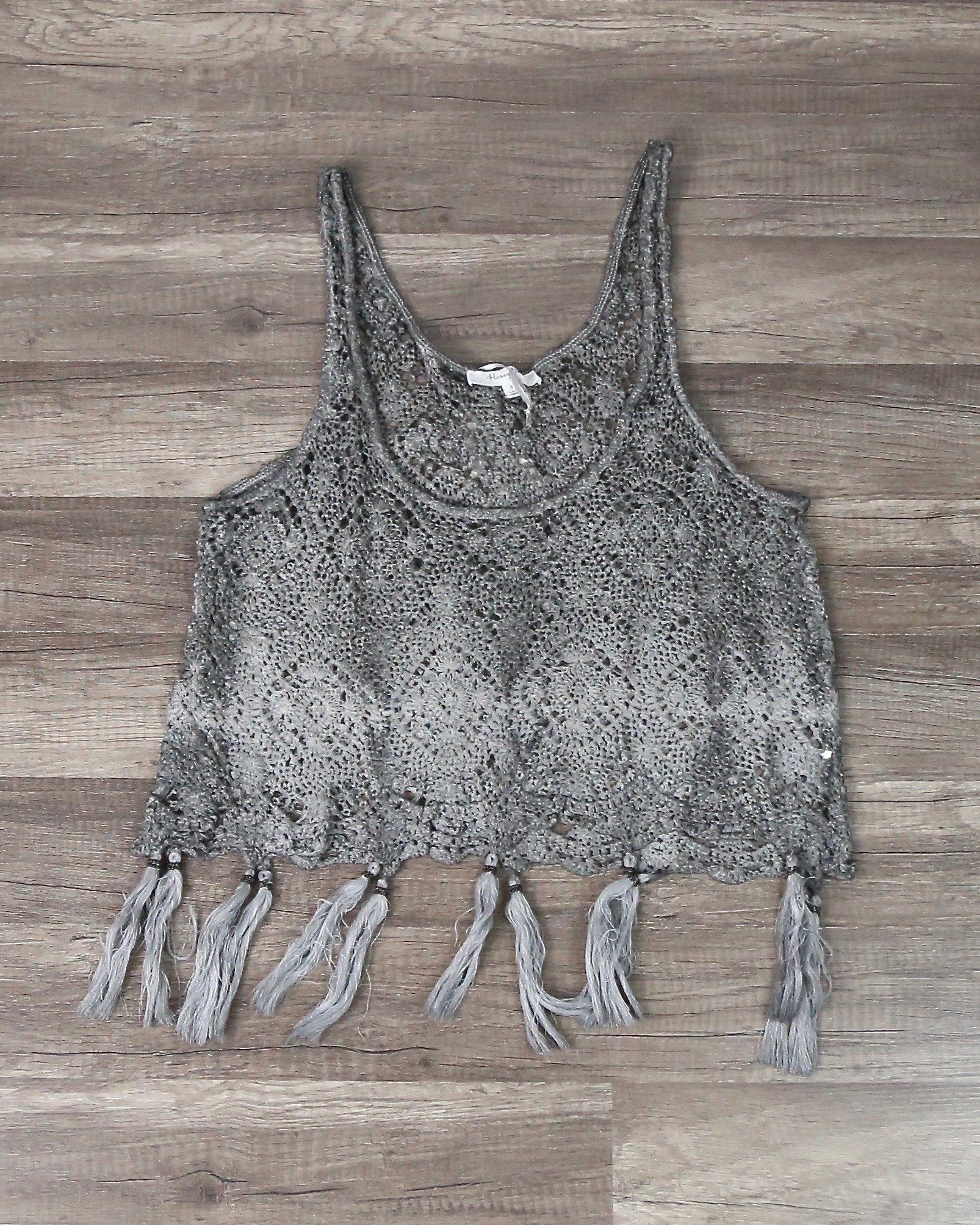 Image of West Coast Crochet Tank with Tassels in Brown/Grey