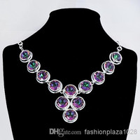 2015 New Pendants Gorjuss High Quality Valentine's Day Gift 925 Silver Colorful Gorgeous Quartz Crystals Fashion Jewelry Necklaces N0034