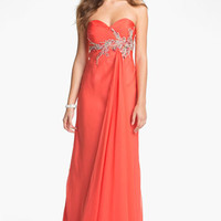 Faviana Embellished Strapless Chiffon Gown (Online Only)