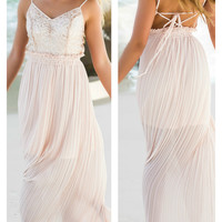 Steal The Show Champagne Sheer Maxi Dress