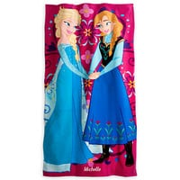Anna and Elsa Beach Towel - Personalized - Frozen