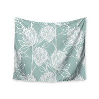 """Gill Eggleston """"Protea Jade White"""" Blue Flowers Wall Tapestry"""