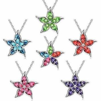 Starfish Flower Jewel IOBI Crystals Necklace - Choose Your Color