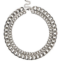 River Island Womens Silver tone double chain necklace
