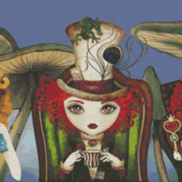 Cross stitch by Sandra Vargas 'Tea Party' - Alice in Wonderland Modern art counted cross stitch PDF Pattern, Queen of Hearts and Mad Hatter