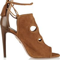 Aquazzura - Get Me Everywhere cutout suede and leather sandals