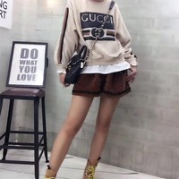 """""""Gucci"""" Women Casual Stitching Letter Pattern Stripe Long Sleeve Shorts Set Two-Piece"""