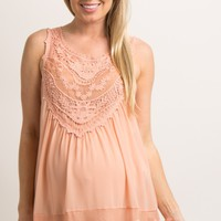 Peach Crochet Neck Chiffon Maternity Blouse