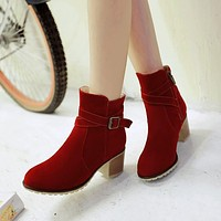 Buckle Ankle Boots Artificial Suede High Heels Shoes Woman 3311 3311