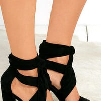 Beat of My Heart Black Suede Lace-Up Heels
