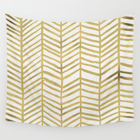 Gold Herringbone Wall Tapestry by Cat Coquillette