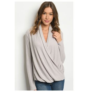 Adorable Light Grey Surplice Sweater Top