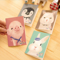 P14 Cute Kawaii Animial Small Portable Line Notebook Student Stationery School Office Supplies Promotion Gift