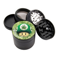 "Smokin Mushroom! - 2.25"" Premium Black Herb Grinder - Custom Designed"