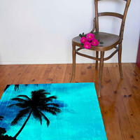 Tropical palm tree floor area rug, silhouette and blue textured background fiji island, teenagers bedroom mat, beach cottage #homedecor #rug
