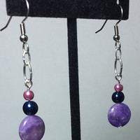 Handmade Beaded Earrings with Dyed Blue Lace Agates Navy and Mauve Pearls, Fun Elegant Beadwork Fashion Jewelry, Feminine Statement Jewelry