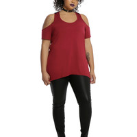 Burgundy & Black Lace Back Cold Shoulder Girls Top Plus Size