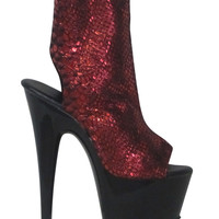 Custom Red Snake Leather Ankle High Stripper Boots