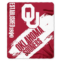Oklahoma Sooners NCAA Light Weight Fleace Blanket (Paint Series) (50inx60in)
