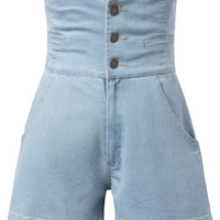 Buttoned High Waist Denim Shorts