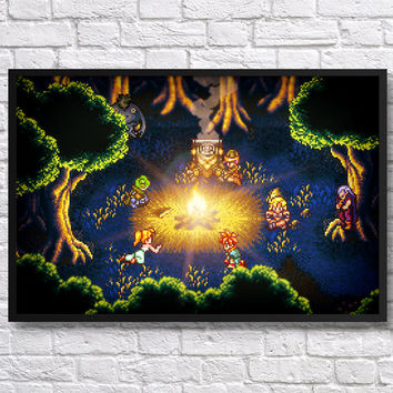 Framed Chrono Trigger campfire video game poster 36x24