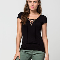 POLLY & ESTHER Lace Up Womens Tee   Essentials