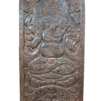 Antique Wood Wall Hanging Hand Carved Ganesha Door Panels India 72 X 36 Inches
