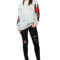 Brooklyn Karma Distressed Rose Patch Top