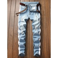 Men Colorblock Ripped Jeans Without Belt