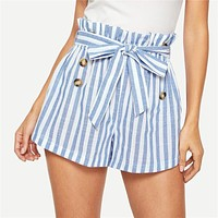Blue or Green Paper-bag Pleated Waist Buttoned Belt Knot Striped Shorts Women Highstreet Preppy Casual Mini Shorts