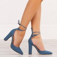 Pointed Tie Denim Heels