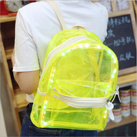 LED light transparent backpack fashion travel women girls ladies pvc bookbag school bags