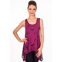 Gothic Dark Forest Birds w/ Sheer Spiderweb Lace Back Flare Tank Top